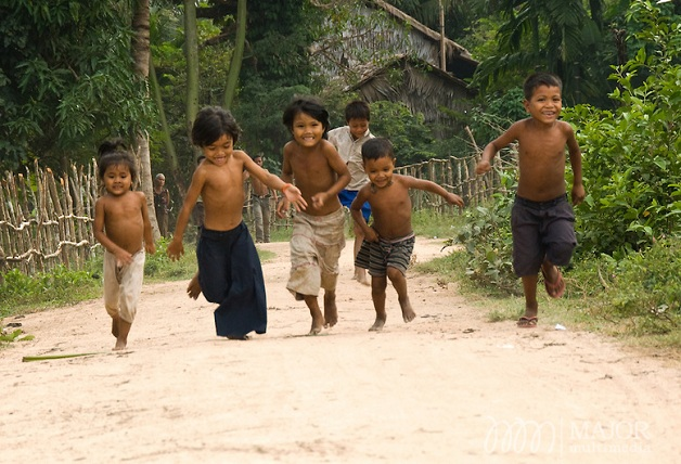 Cambodian children excited to greet visitors