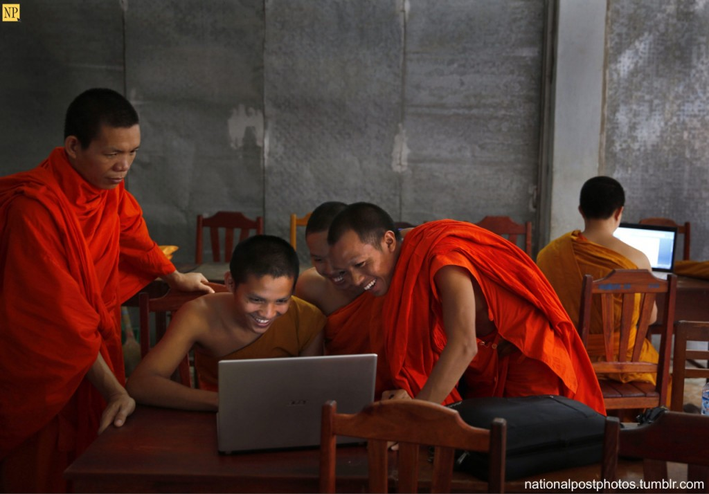 monks with laptop